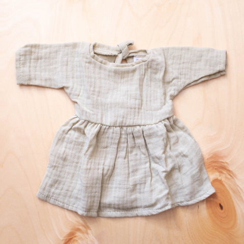 French Baby Doll Outfit: Gauze Dress Taupe Mint