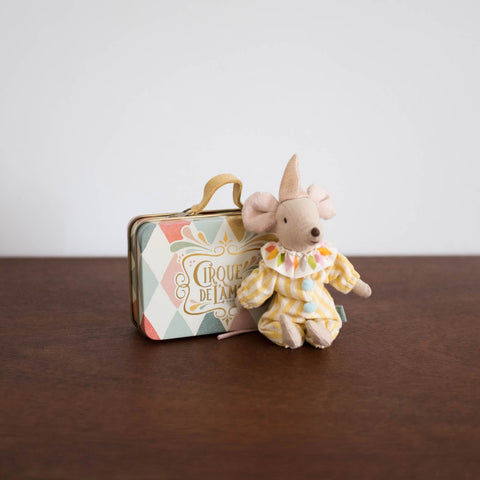 Big Brother Clown Mouse in Tin Suitcase