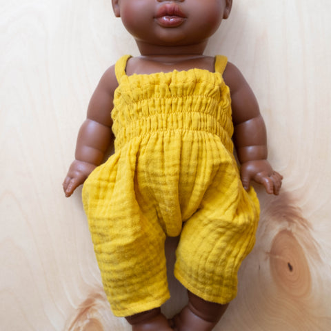 French Baby Doll Outfit: Gauze Jumpsuit Mustard