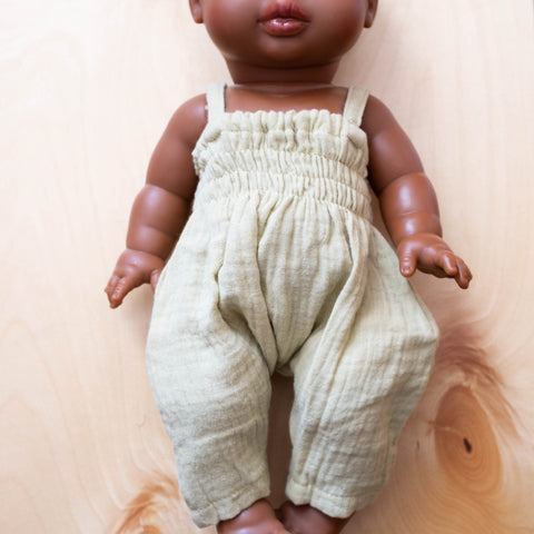 French Baby Doll Outfit: Gauze Jumpsuit Taupe Mint