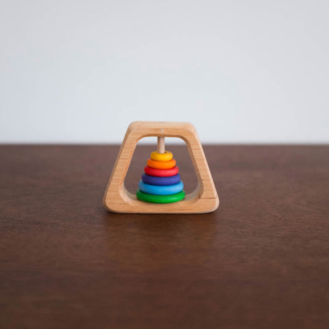 Wooden Grasping Pyramid Toy- Rainbow