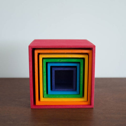 Wooden Set of Large Stacking Boxes: Rainbow