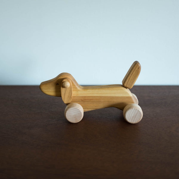 Wooden Miniature Dachshund Dog Push Toy- Natural