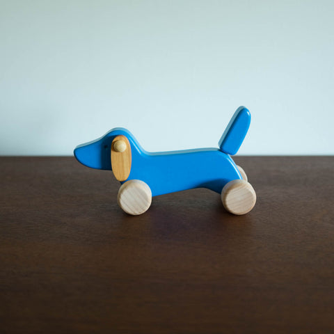 Wooden Miniature Dachshund Dog Push Toy- Blue