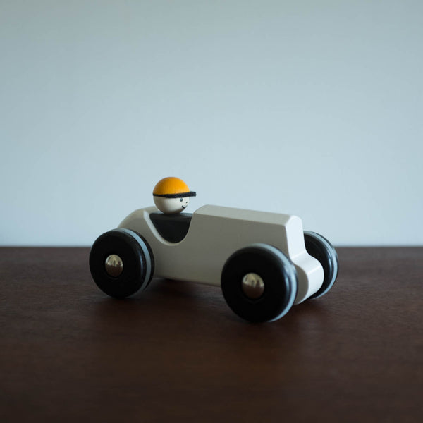 Wooden Retro Race Car- Vintage White