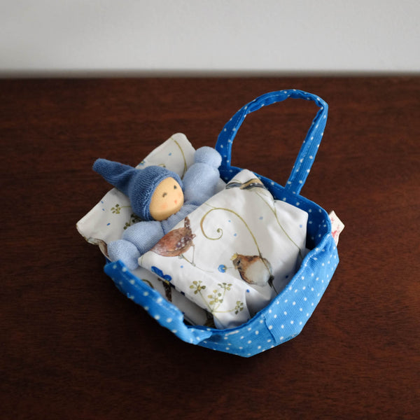 Nanchen Cuddle Doll with Baby Bed- Blue