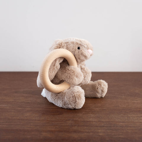 Bashful Beige Bunny Wooden Ring Teether