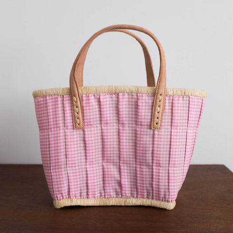 Mini Rattan Gingham Basket - Pink