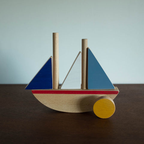 Wooden Balancing Boat with Sun Set