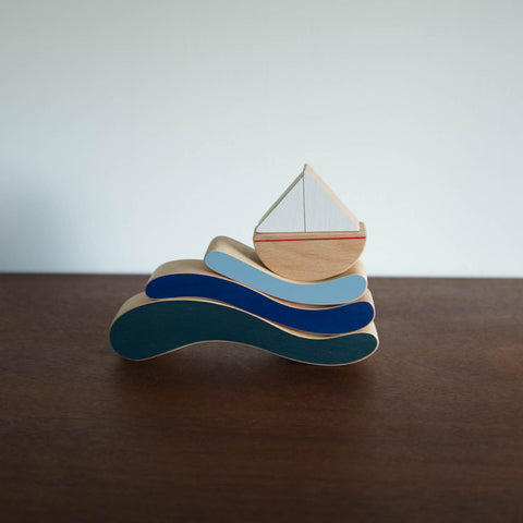 Wooden Balancing Boat with Waves Set
