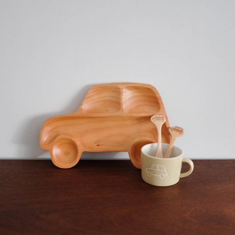 Kids Wooden Car Dinnerware Set