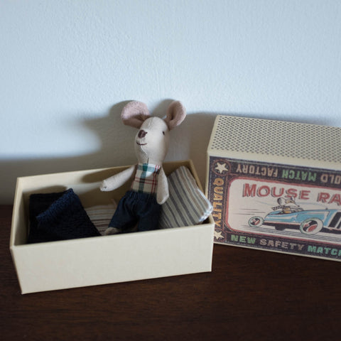 Little Brother Mouse in a Box- Plaid