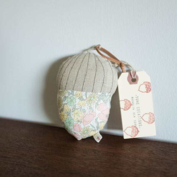 Yume Acorn Rattle- Light Pink Liberty