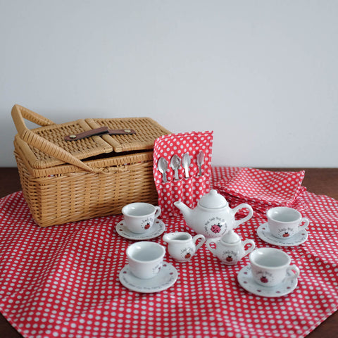 Ladybug Ceramic Tea Set with Basket