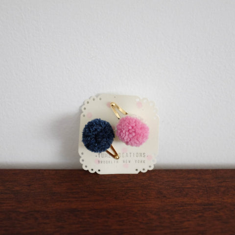 Yume Pom Pom Hair Clips Set- Navy and Pink