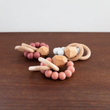 Beaded Silicone and Wood Teether- Marble White
