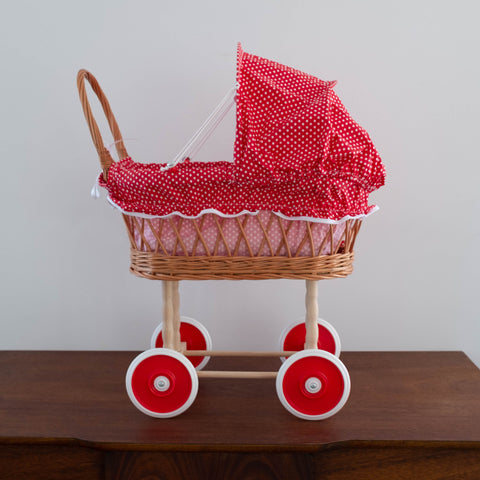 Wicker Red Polka Dot Retro Doll Pram