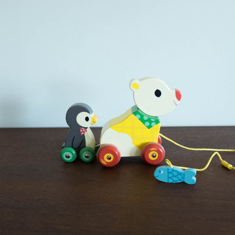 Bear and Penguin Musical Pull Toy