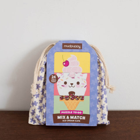 Ice Cream and Cats Mix and Match Puzzle to Go Kit