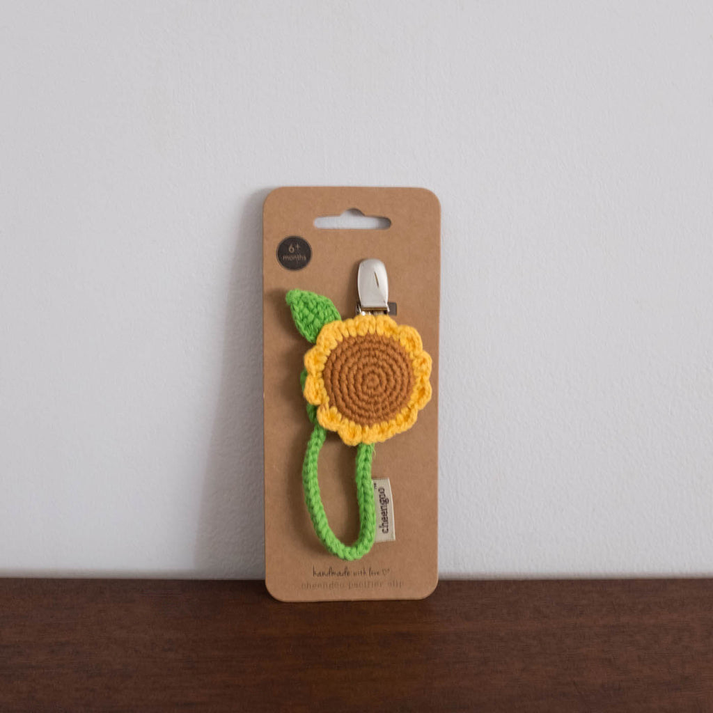 Sunflower Organic Crochet Pacifier Clip Shop Merci Milo