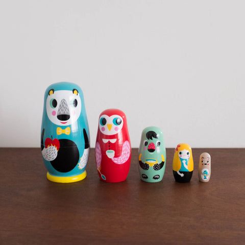 In the Woods Animal Wooden Nesting Dolls Set