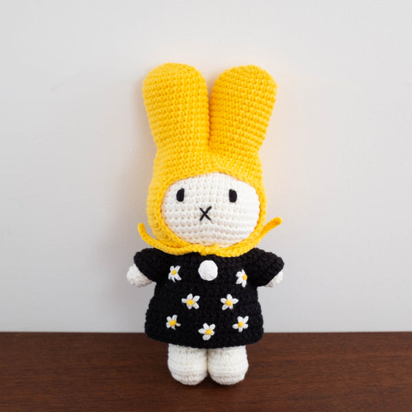 Miffy Handmade Crochet Doll- Yellow Hat with Black Floral Dress