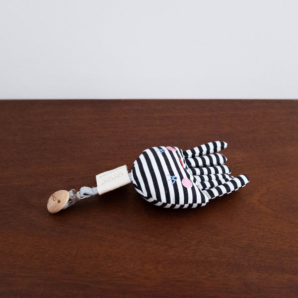 Striped Octopus Pacifier Clip