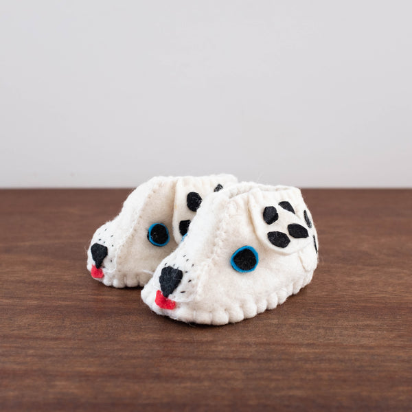 Baby Wool Felt Booties- Spotted Dog