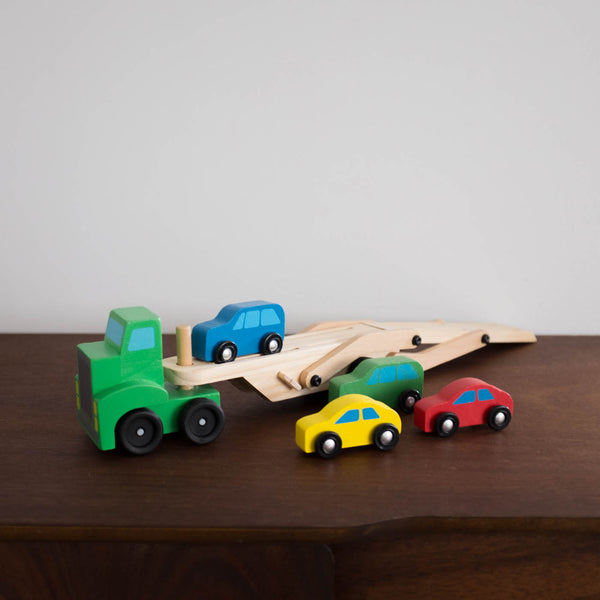 Wooden Car Carrier Truck and Cars Set