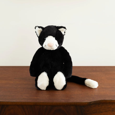 Bashful Black and White Kitten Doll- Medium