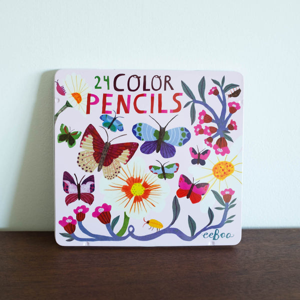Butterflies and Flowers Colored Pencils Tin Kit