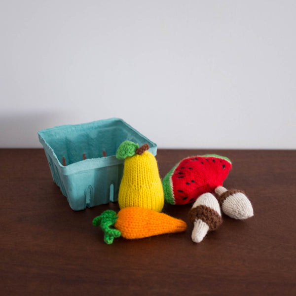 Knitted Play Foods: Watermelon, Pear, Mushroom and Carrot