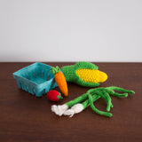 Knitted Play Foods: Corn, Green Onions, Cherry Tomato, and Carrot
