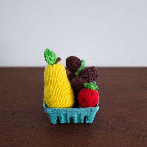 Knitted Play Foods: Grape, Strawberry, and Pear