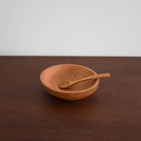 Cherry Wood Bowl and Spoon Set