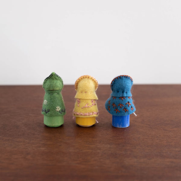 Wool Felt Peg Toy- Embroidered Spring Children