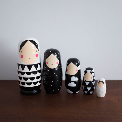 Black and White Wooden Nesting Dolls Set- Extra Large