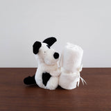 Bashful Black and White Puppy Soother Blankie