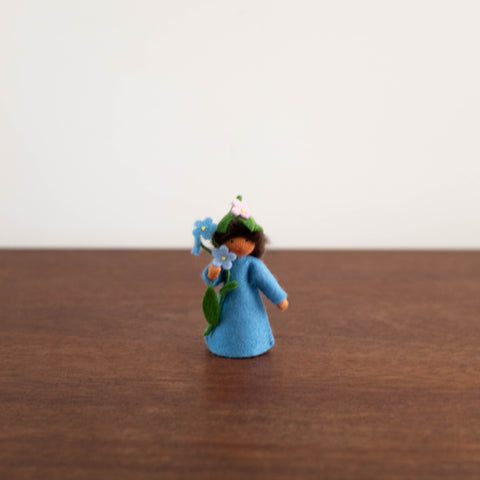 Wool Felt:  Fairy holding Forget-me-not Flowers