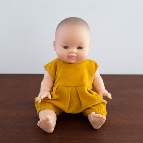 French Baby Doll with Corduroy Romper- Mustard Yellow