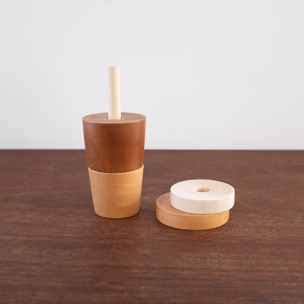 Wooden Coffee Cup with Straw Toy