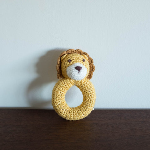 Lion Organic Crochet Rattle Toy