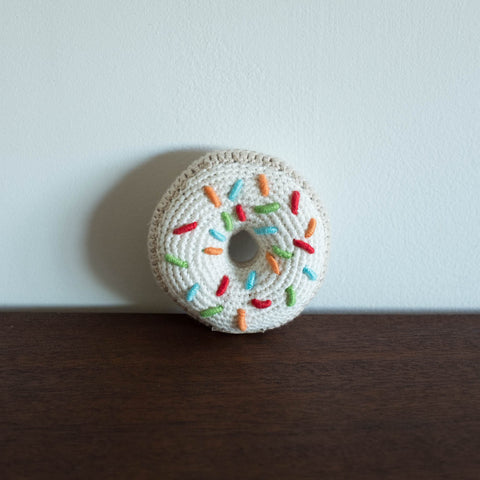 Donut Organic Crochet Rattle Toy- Sprinkles