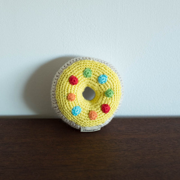 Donut Organic Crochet Rattle Toy - Yellow