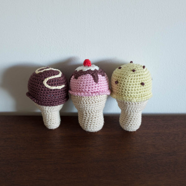 Ice Cream Organic Crochet Rattle Toy Set of 3