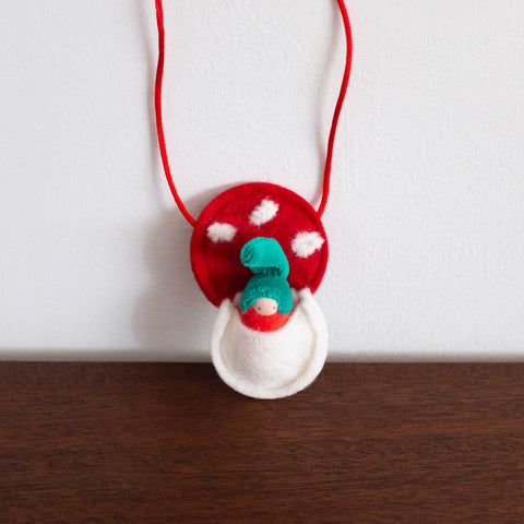 Waldorf Inspired Mini Doll in Mushroom Necklace