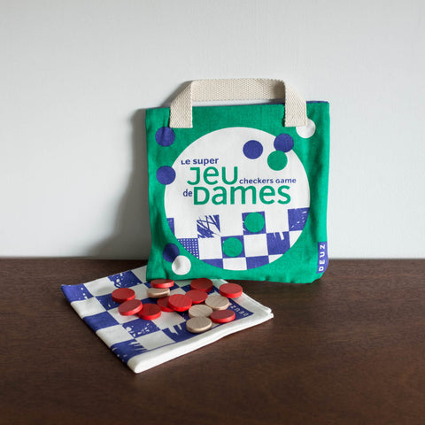 French Portable Checkers Game Set