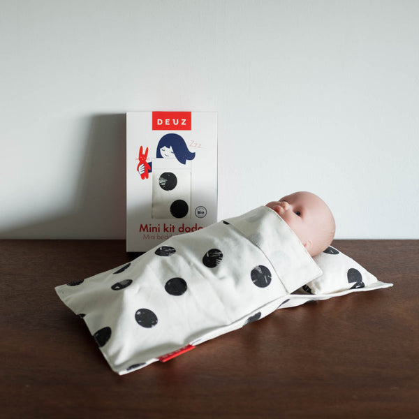 Baby Doll Bedding Set - Black Dots