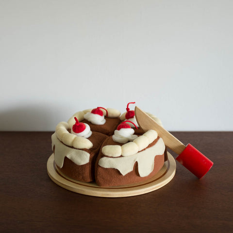 Plush Cake with Wooden Knife