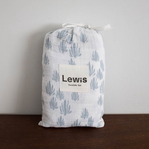 Seaweed Burp Cloth Set of Two- Blue Bay